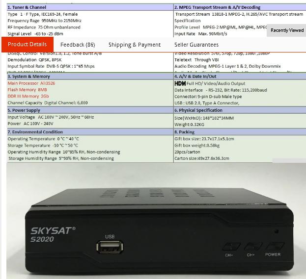 SKYSAT S2020 Twin Tuner Satellite Receiver IKS SKS ACM IPTV