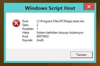 Windows Script Host Hatası !!!!!!!! Yardım » Sayfa 1 - 1