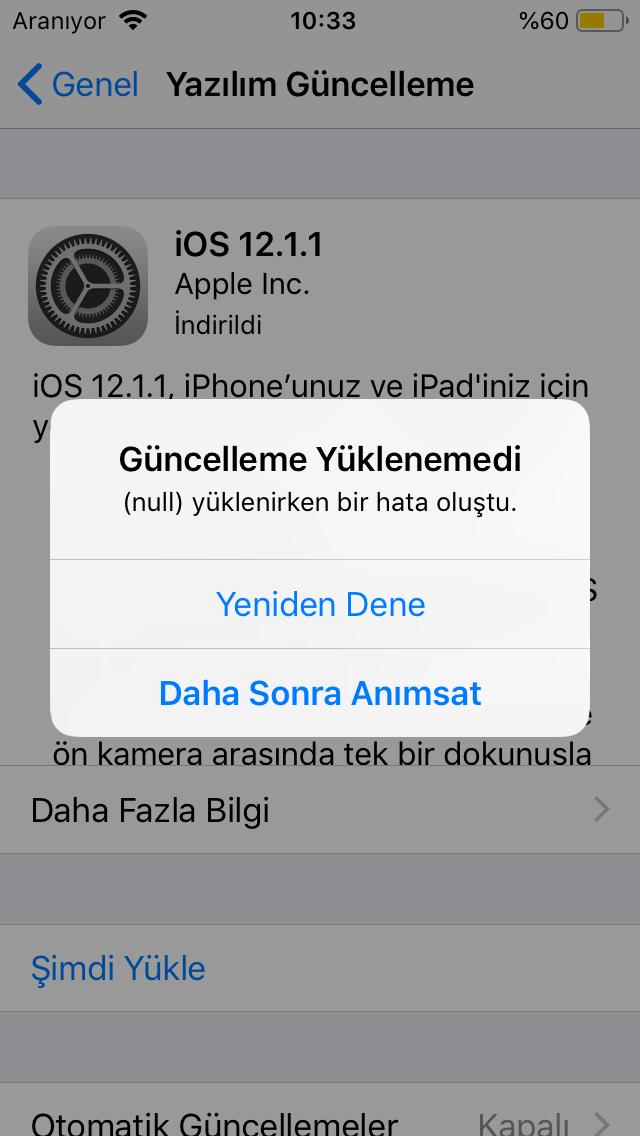 iOS 13 Yüklenmiyor