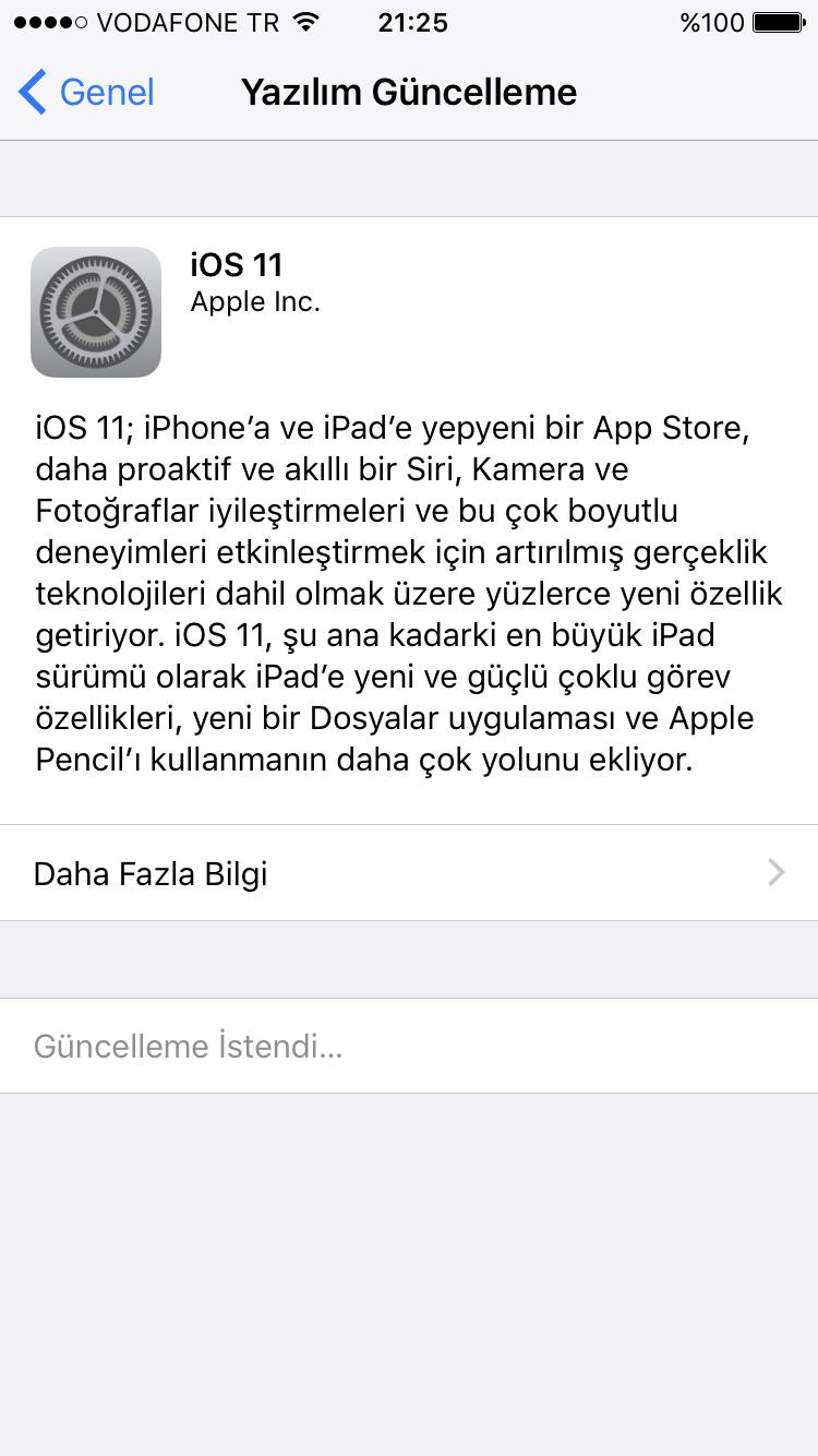 iphone yazılım güncelleme istendi