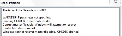 corrupt master file table.chkdsk aborted