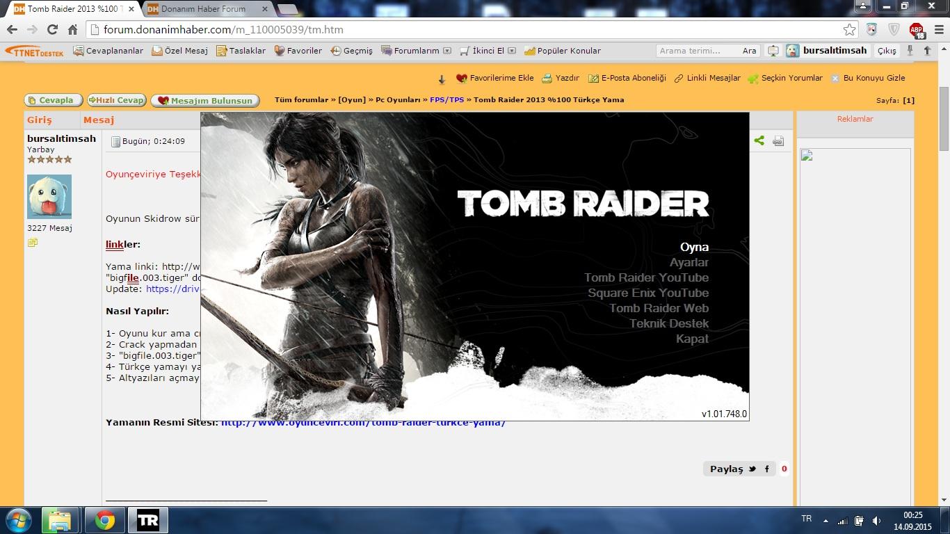 Tomb raider 2013 %100 türkçe yama » sayfa 1 1.