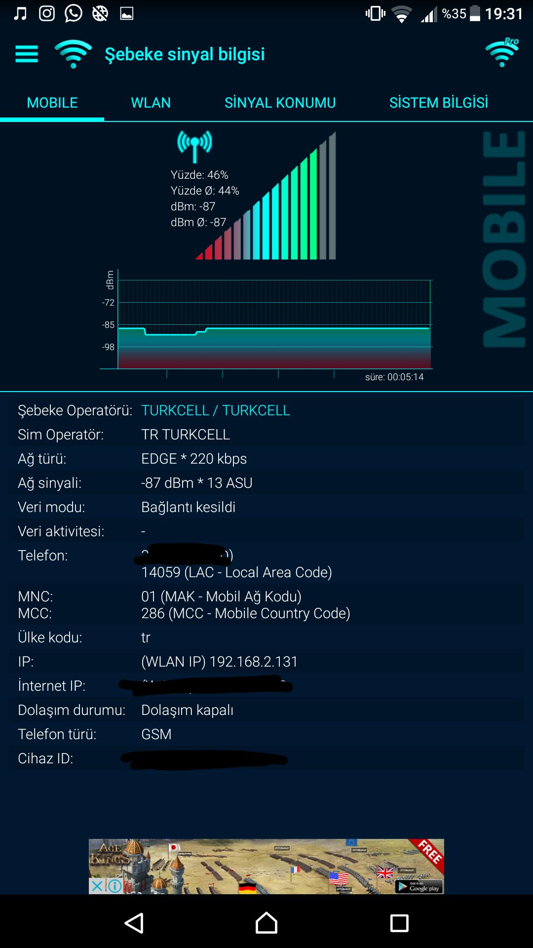 Sorunsuz xa ultramdan son güncellemeden sonra 4g 3g ve 2gde sinyal testi