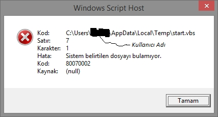 Windows Script Host Hatası!
