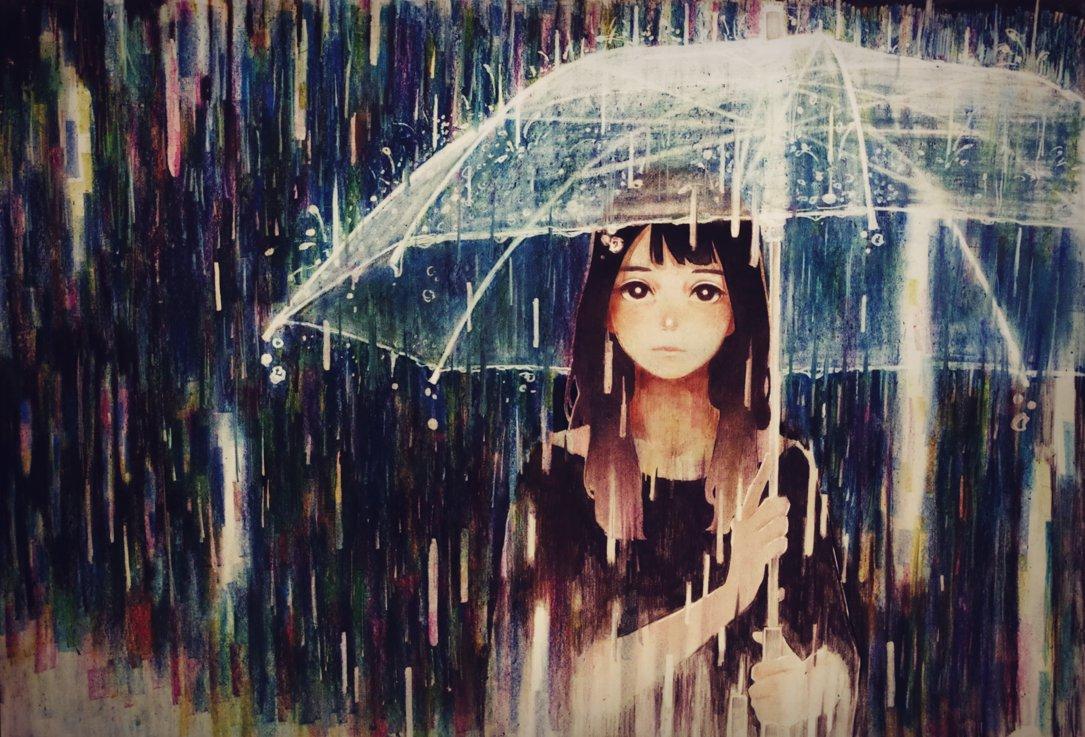 Днем рождения, картинки девушка под дождем с зонтом нарисованные