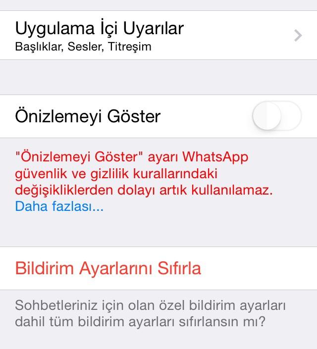 iphone whatsapp önizleme açılmıyor