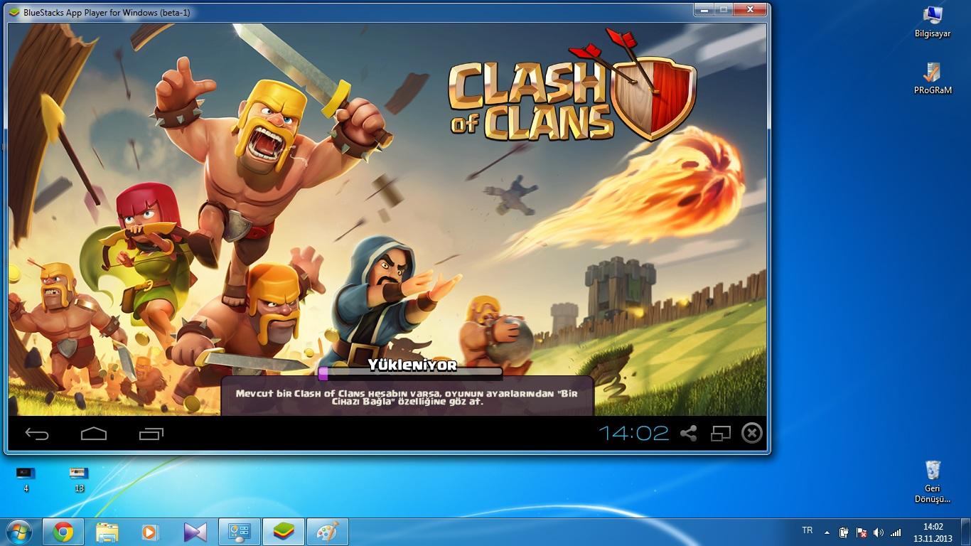aç diyouz 0 ve artık clash of clans oyunumuz açıldı