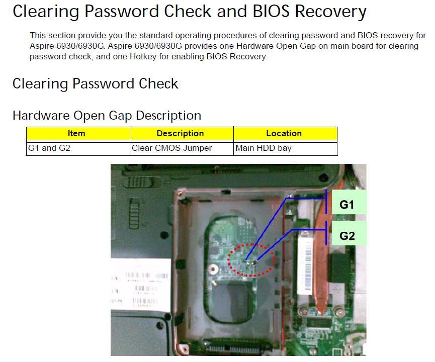 Acer Aspire 6930G BIOS pili nerede? SS
