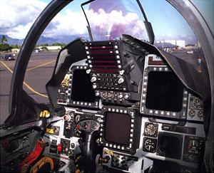 F 15 cockpit  low pass in desert