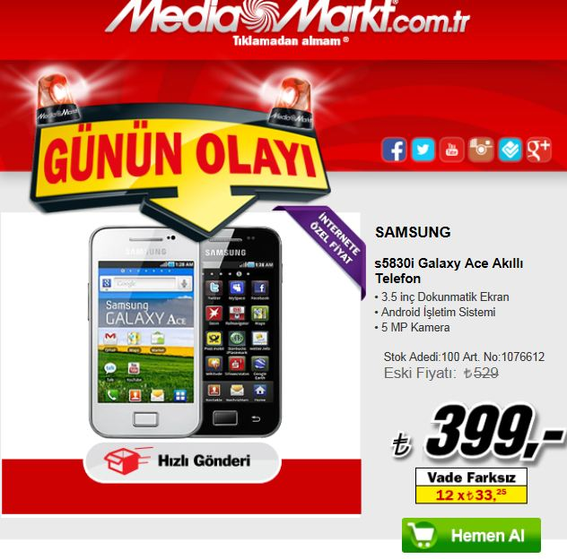 mediamarkt g n n olayi samsung s5830i galaxy ace ak ll. Black Bedroom Furniture Sets. Home Design Ideas